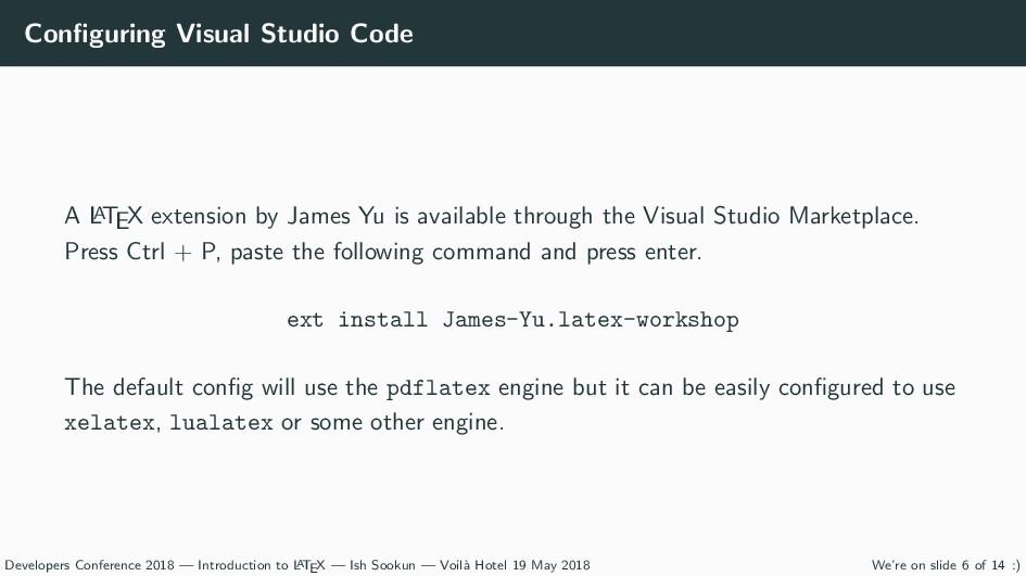 Configuring Visual Studio Code A L A TEX extensi...