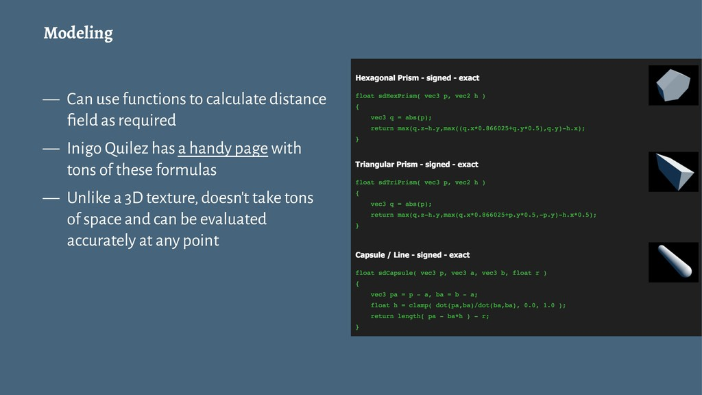 Modeling — Can use functions to calculate dista...