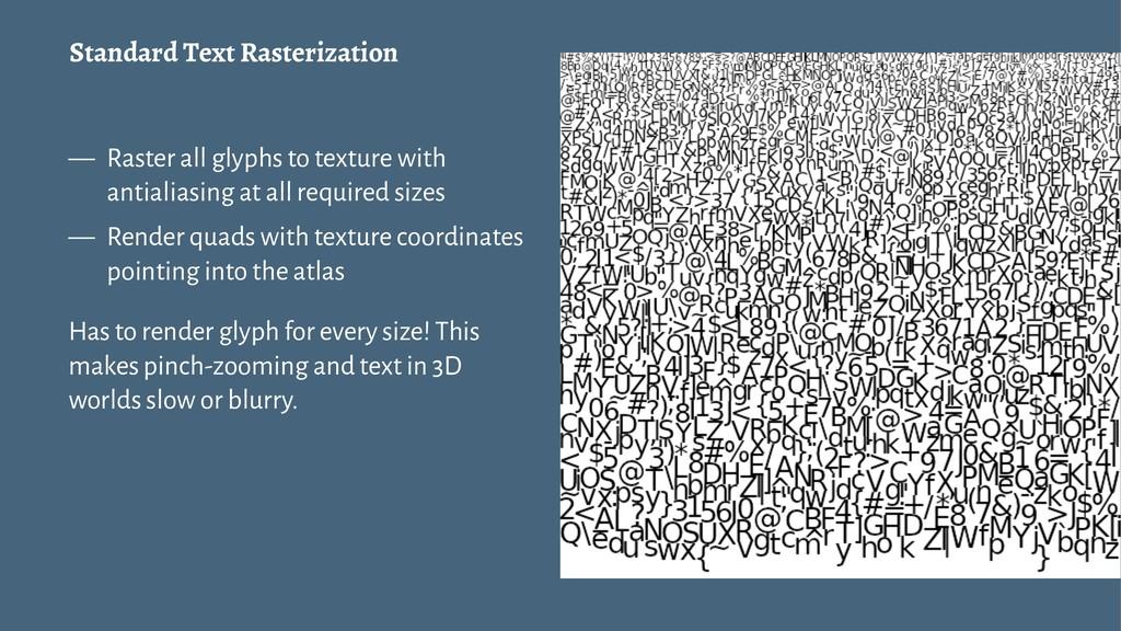 Standard Text Rasterization — Raster all glyphs...