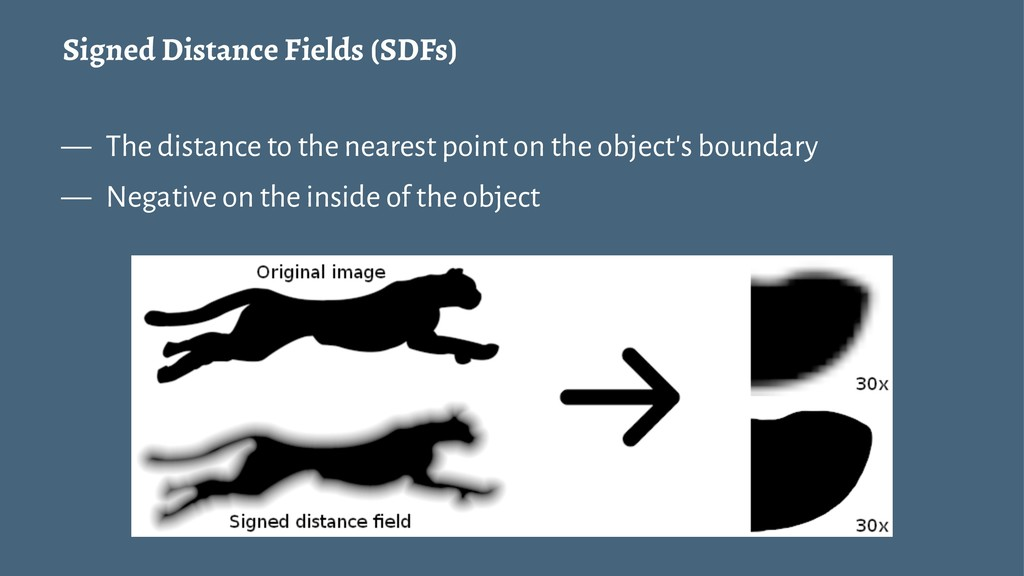 Signed Distance Fields (SDFs) — The distance to...