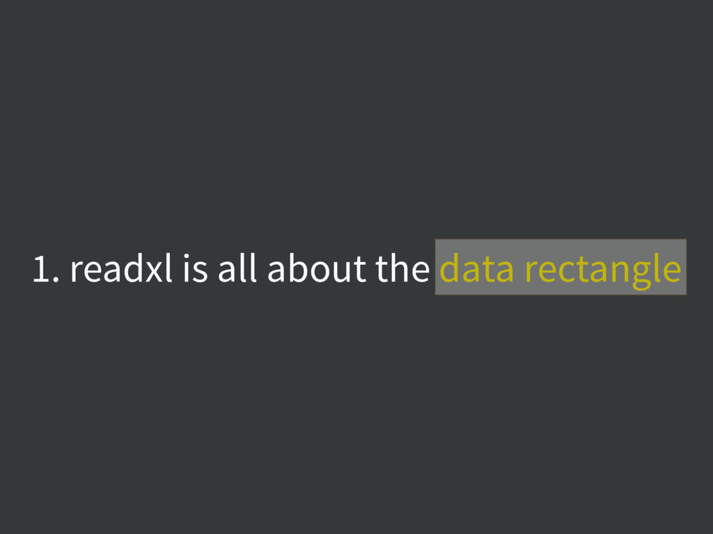 1. readxl is all about the data rectangle