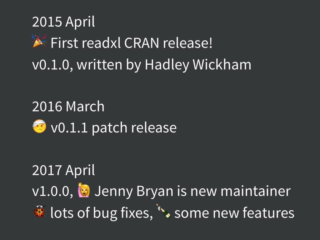 2015 April  First readxl CRAN release! v0.1.0, ...