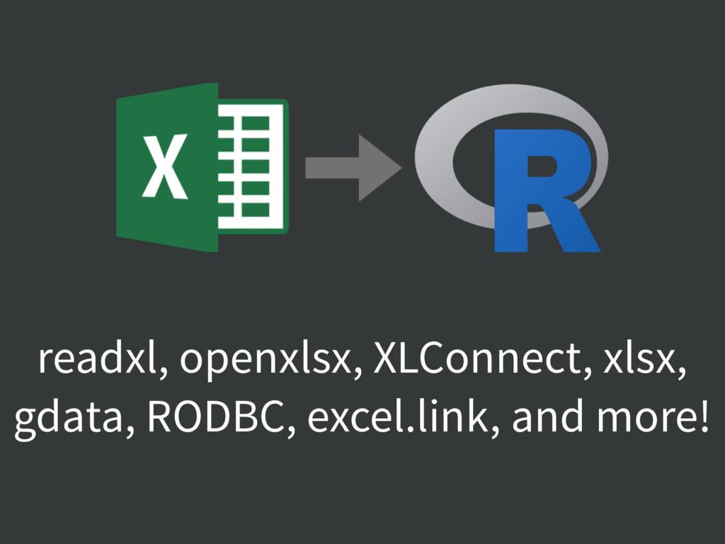 readxl, openxlsx, XLConnect, xlsx, gdata, RODBC...