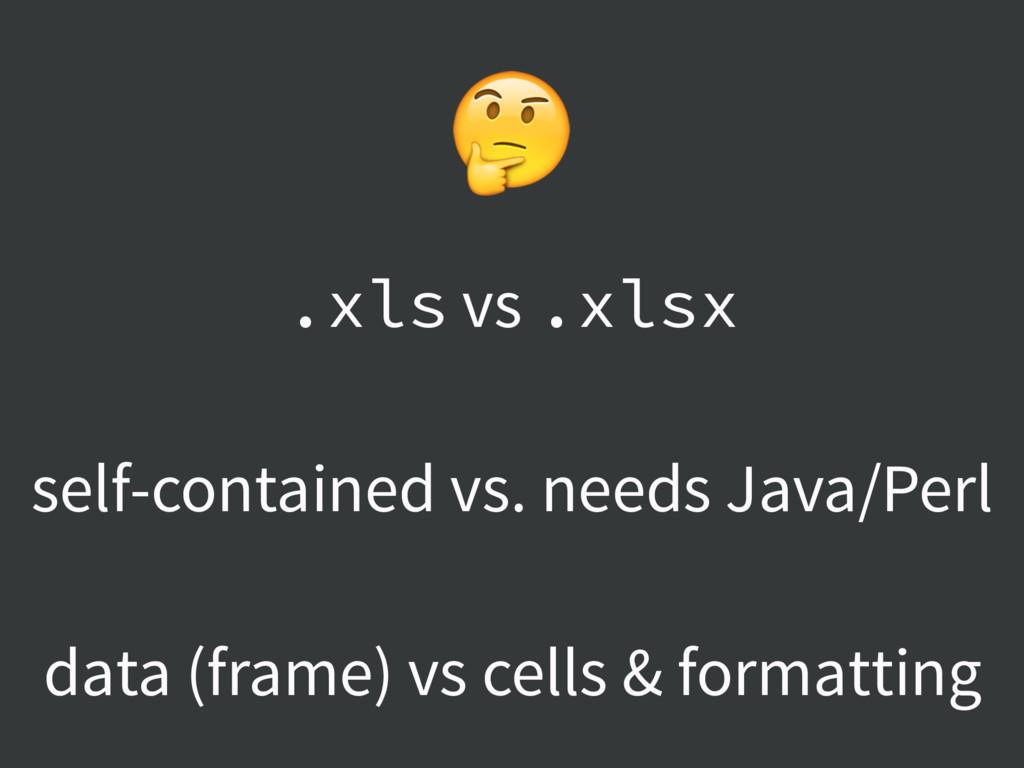 .xls vs .xlsx self-contained vs. needs Java/Per...