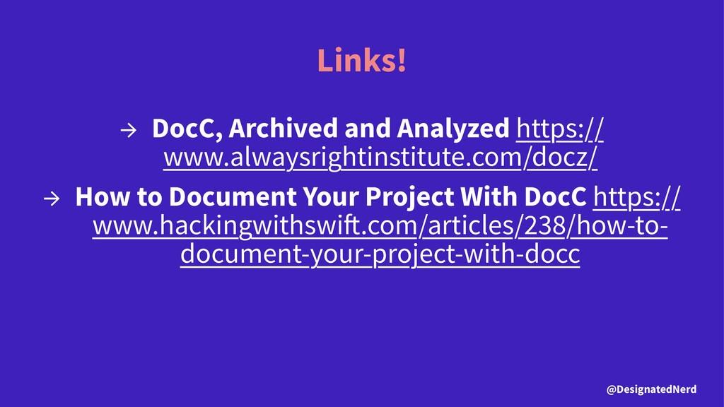 Links! → DocC, Archived and Analyzed https:// w...