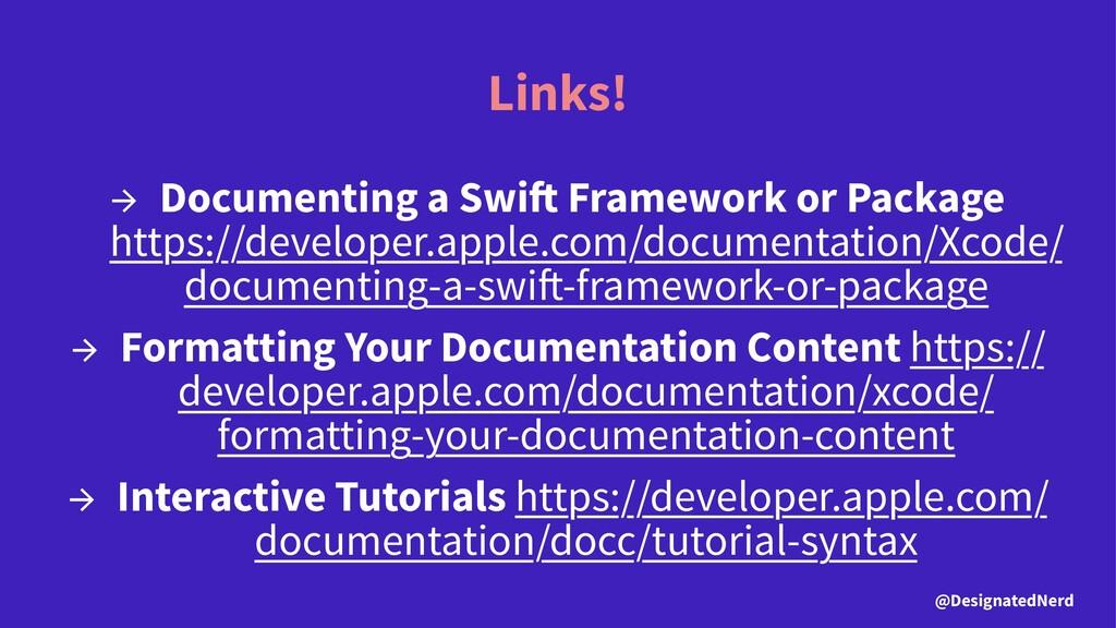 Links! → Documenting a Swi Framework or Package...