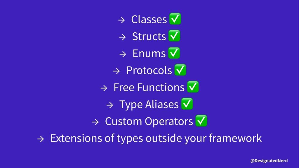 → Classes → Structs → Enums → Protocols → Free ...