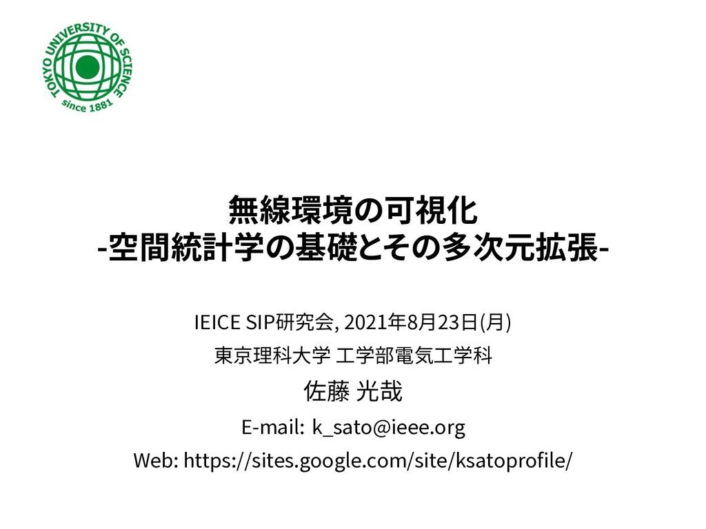 無線環境の可視化 -空間統計学の基礎とその多次元拡張- IEICE SIP研究会, 2021年...