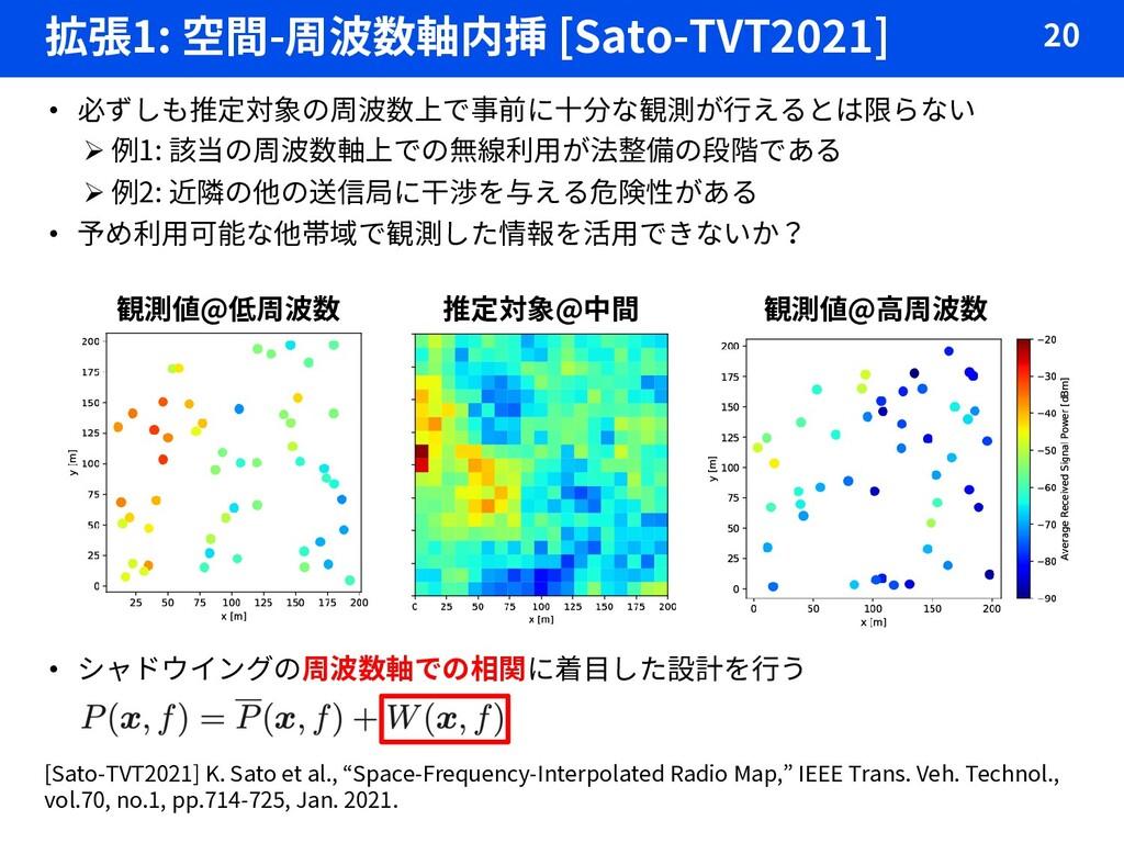 拡張1: 空間-周波数軸内挿 [Sato-TVT2021] 20 • 必ずしも推定対象の周波数...