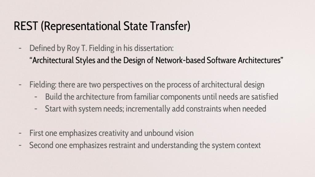 REST (Representational State Transfer) - Define...