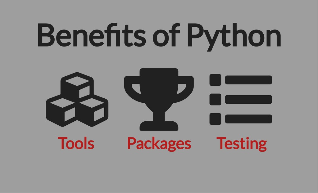 Tools Packages Testing Bene ts of Python