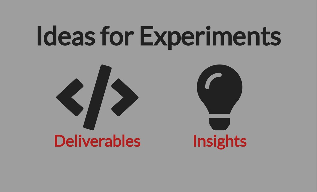 Deliverables Insights Ideas for Experiments