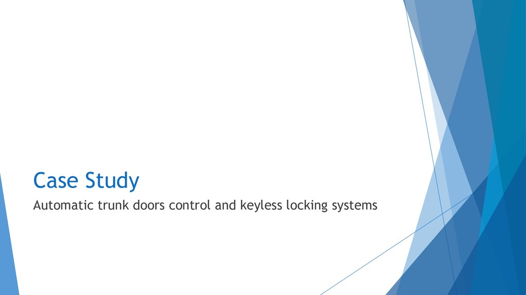 Case Study Automatic trunk doors control and ke...