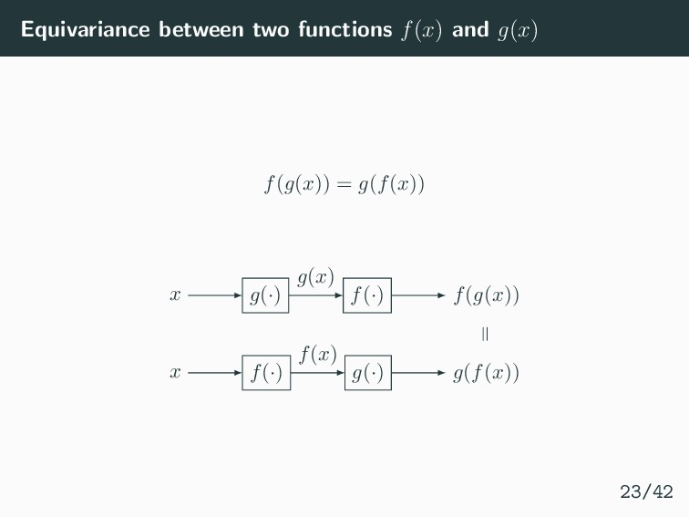 Equivariance between two functions f(x) and g(x...