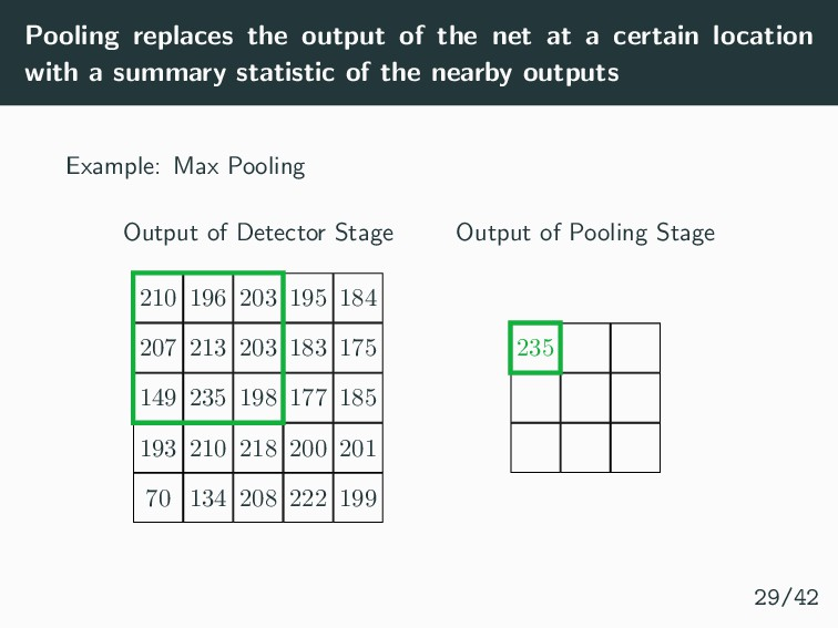Pooling replaces the output of the net at a cer...