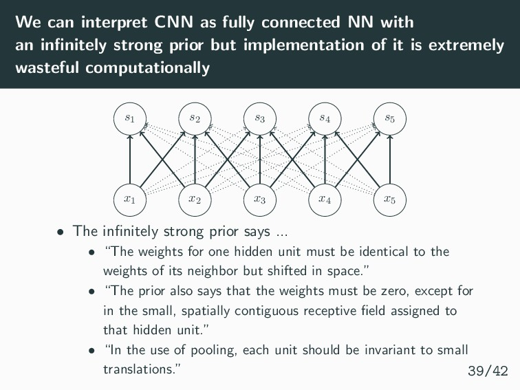 We can interpret CNN as fully connected NN with...