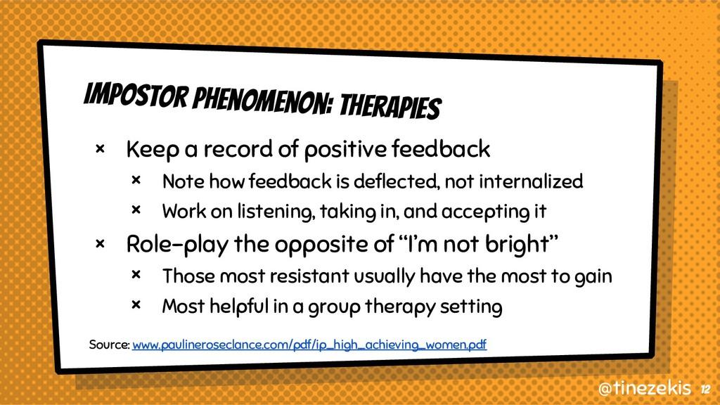 Impostor Phenomenon: Therapies × Keep a record ...