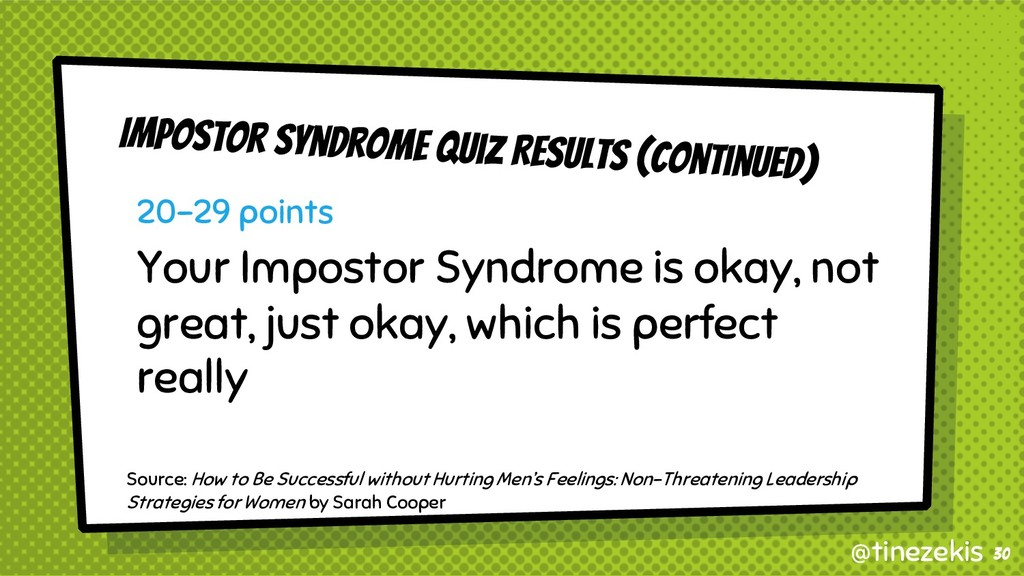 Impostor Syndrome Quiz Results (Continued) 20-2...