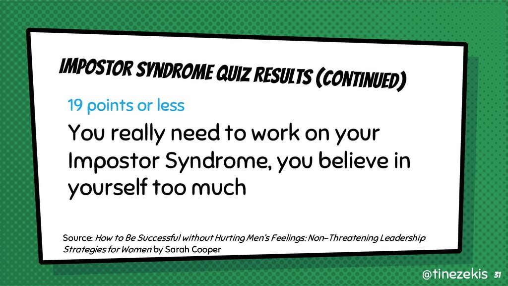 Impostor Syndrome Quiz Results (Continued) 19 p...