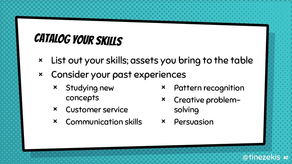 Catalog Your Skills × List out your skills; ass...