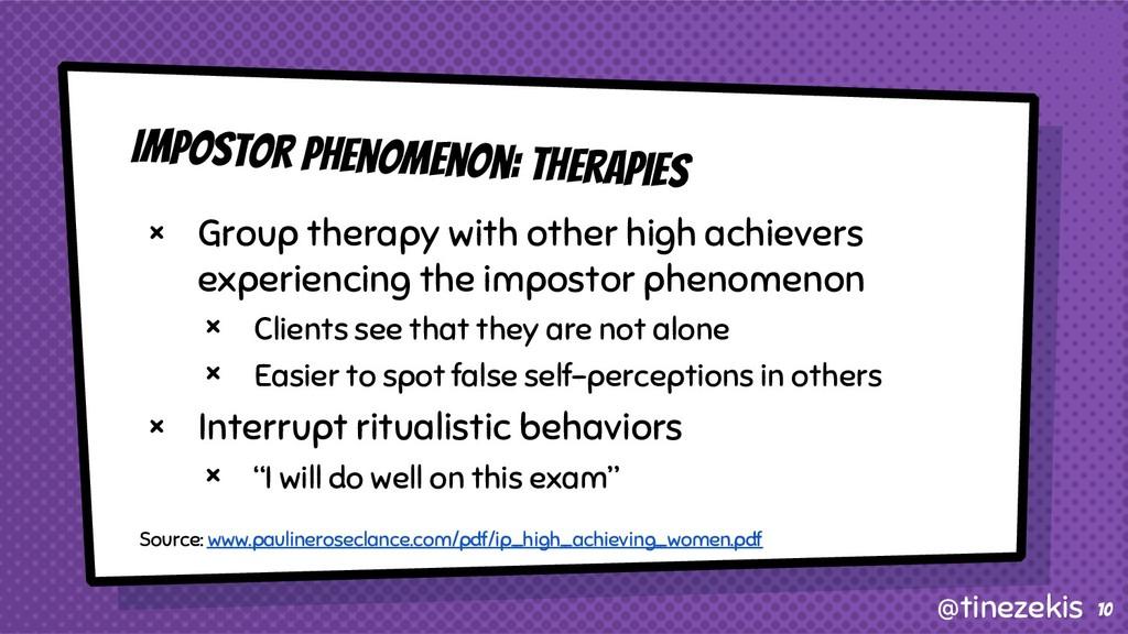 Impostor Phenomenon: Therapies × Group therapy ...