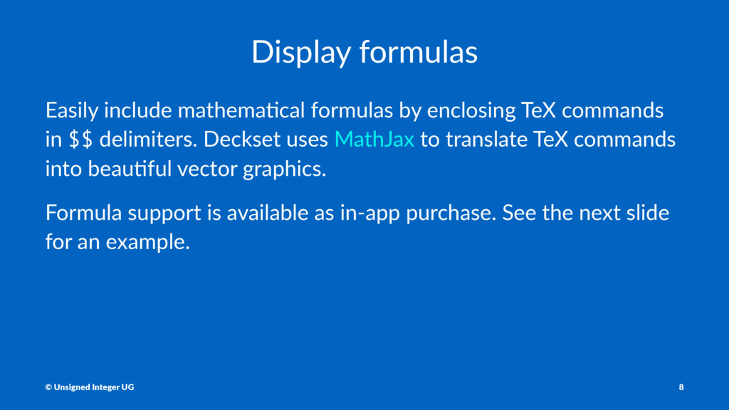 Display formulas Easily include mathema0cal for...