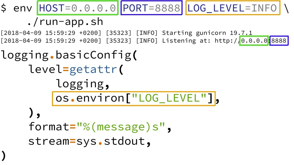 $ env HOST=0.0.0.0 PORT=8888 LOG_LEVEL=INFO \ ....