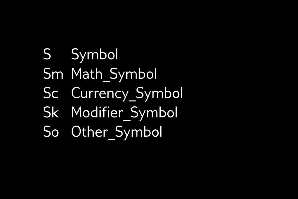 S Symbol Sm Math_Symbol Sc Currency_Symbol Sk M...