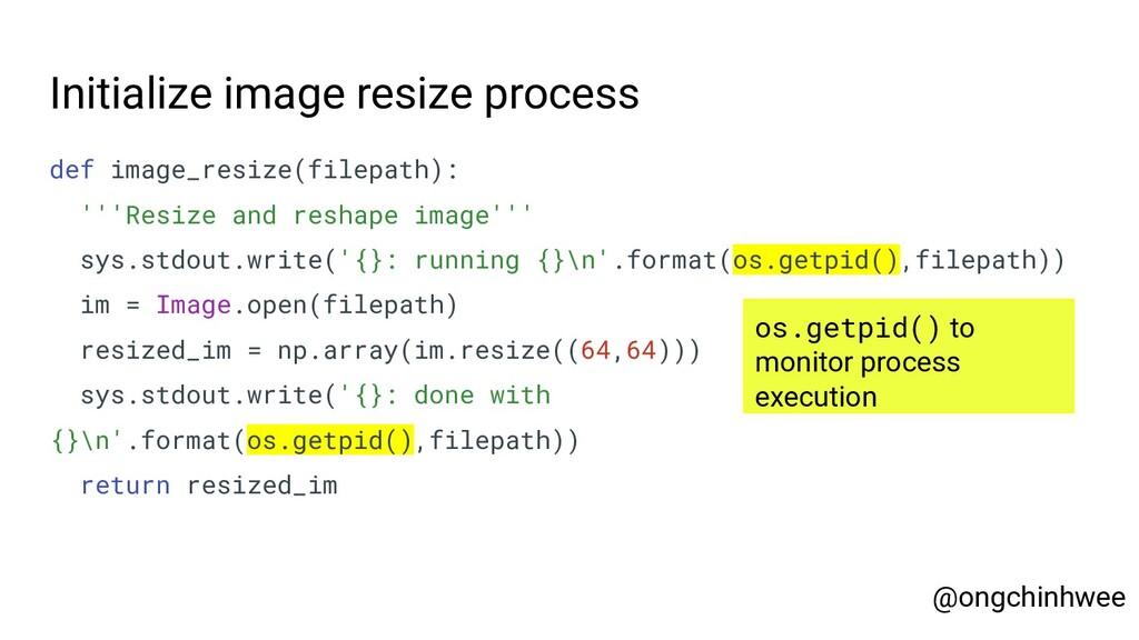 Initialize image resize process def image_resiz...