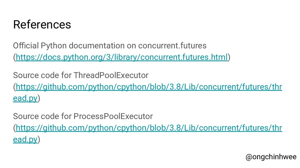 References Official Python documentation on concu...