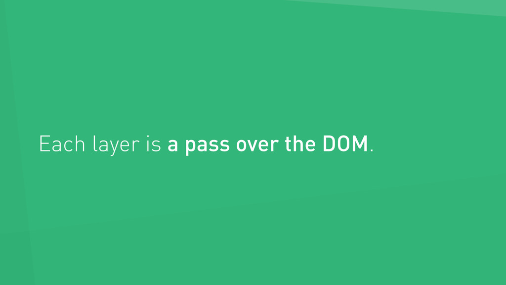 Each layer is a pass over the DOM.