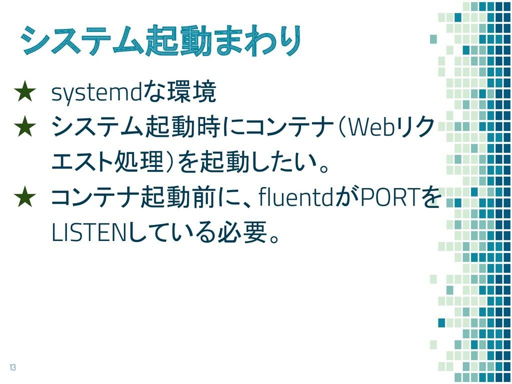 システム起動まわり ★ systemdな環境 ★ システム起動時にコンテナ(Webリク エスト...