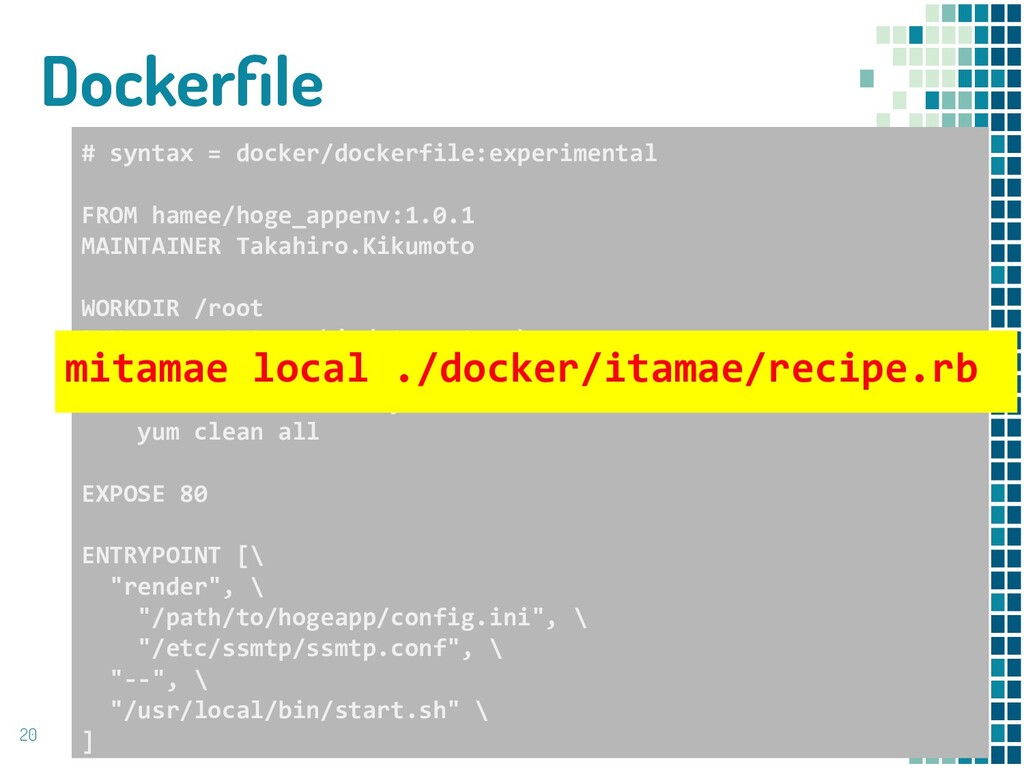 Dockerfile 20 # syntax = docker/dockerfile:exper...