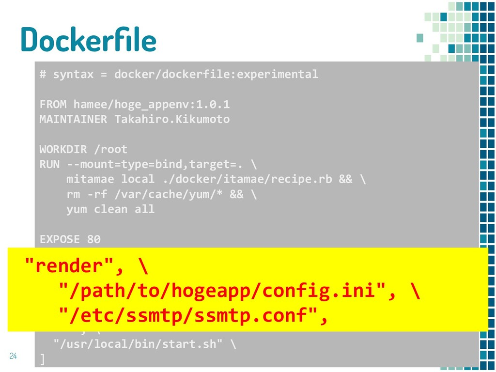 Dockerfile 24 # syntax = docker/dockerfile:exper...