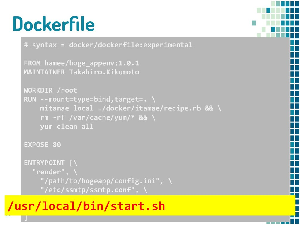 Dockerfile 27 # syntax = docker/dockerfile:exper...