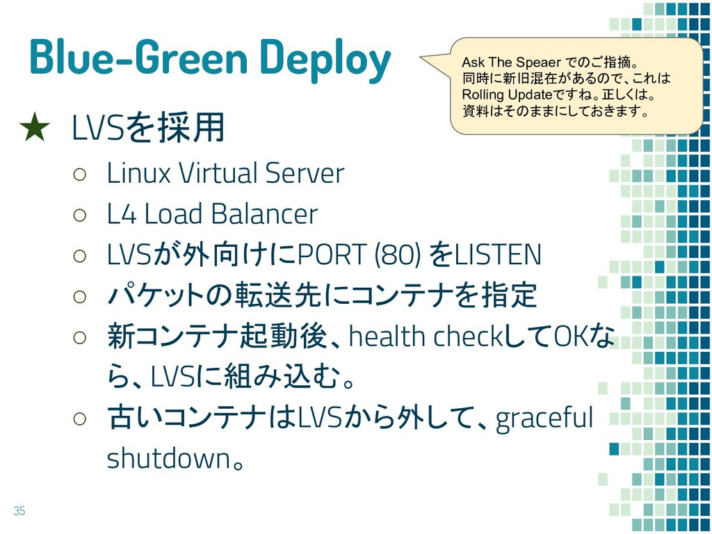 Blue-Green Deploy ★ LVSを採用 ○ Linux Virtual Serv...