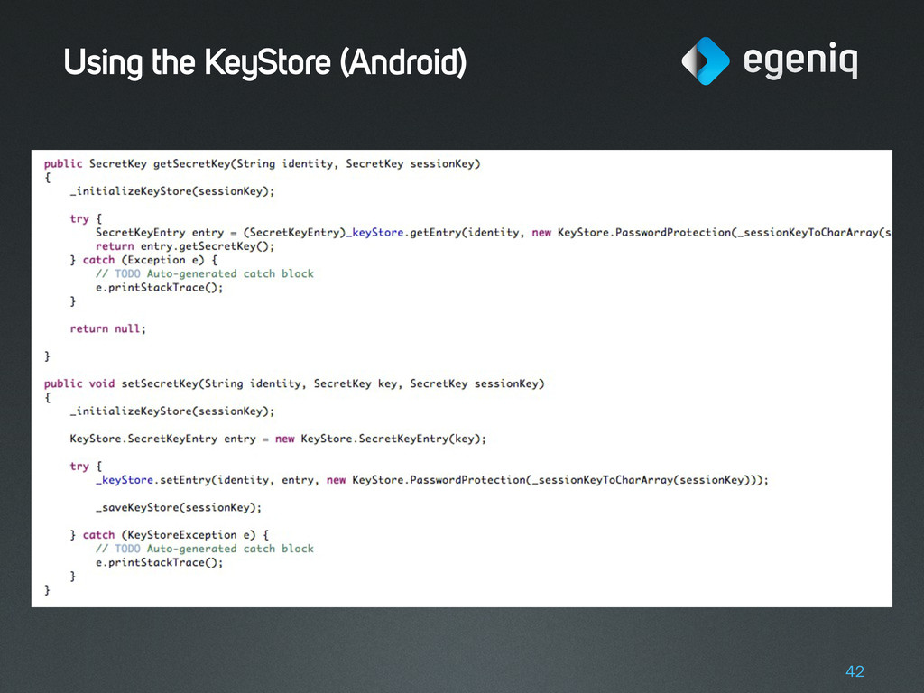 Using the KeyStore (Android) 42