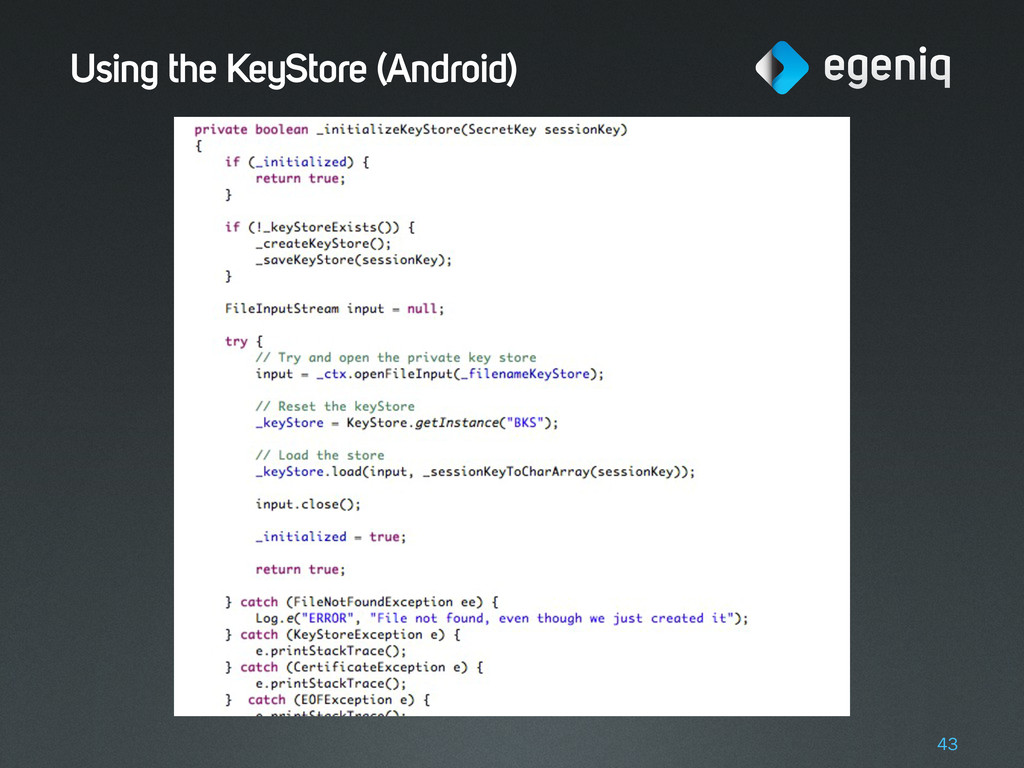 Using the KeyStore (Android) 43