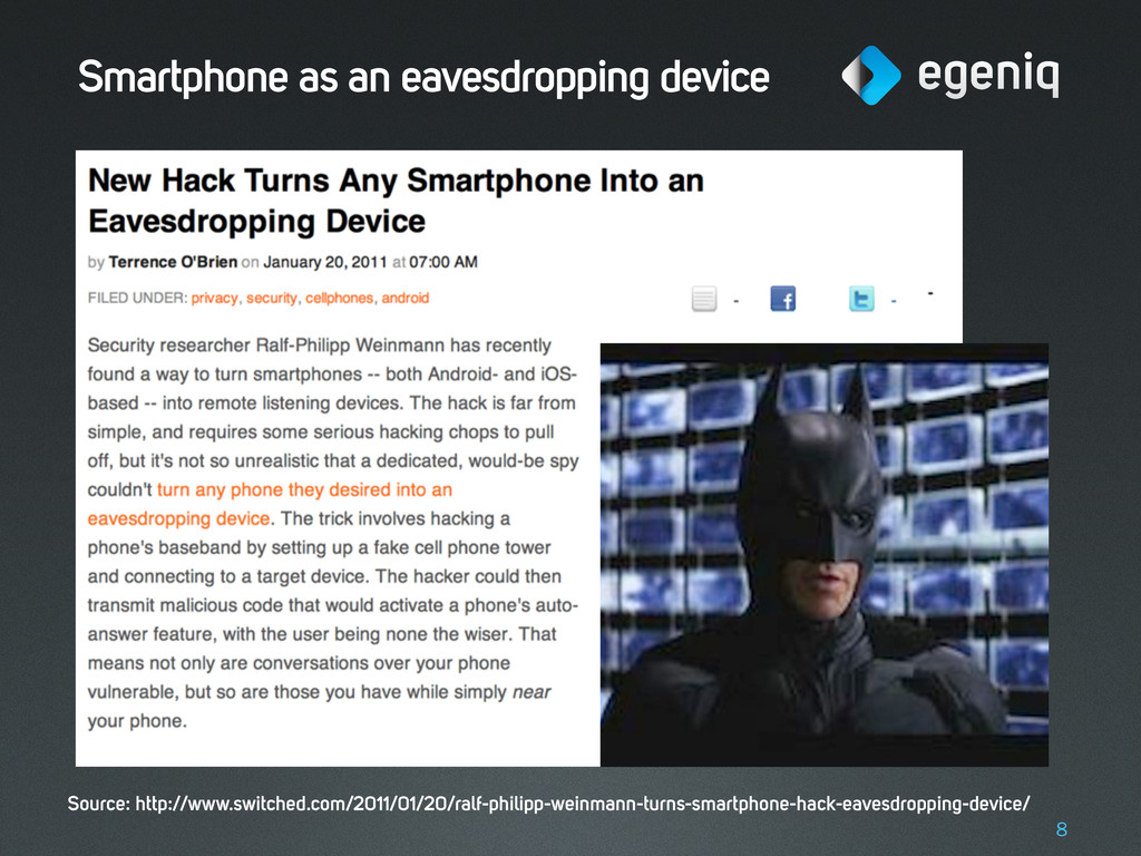 Smartphone as an eavesdropping device 8 Source:...