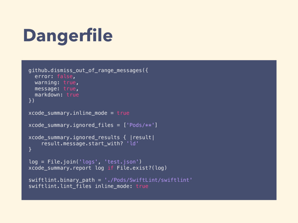 Dangerfile github.dismiss_out_of_range_messages(...