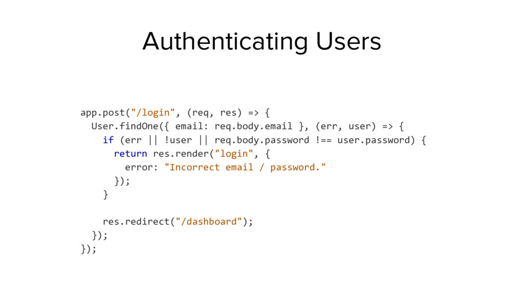 "app.post(""/login"", (req, res) => { User.findOne..."