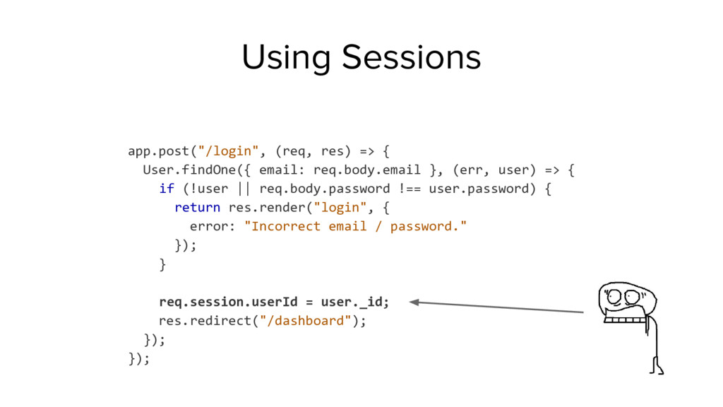 "Using Sessions app.post(""/login"", (req, res) =>..."