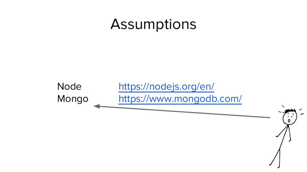 Assumptions Node https://nodejs.org/en/ Mongo h...