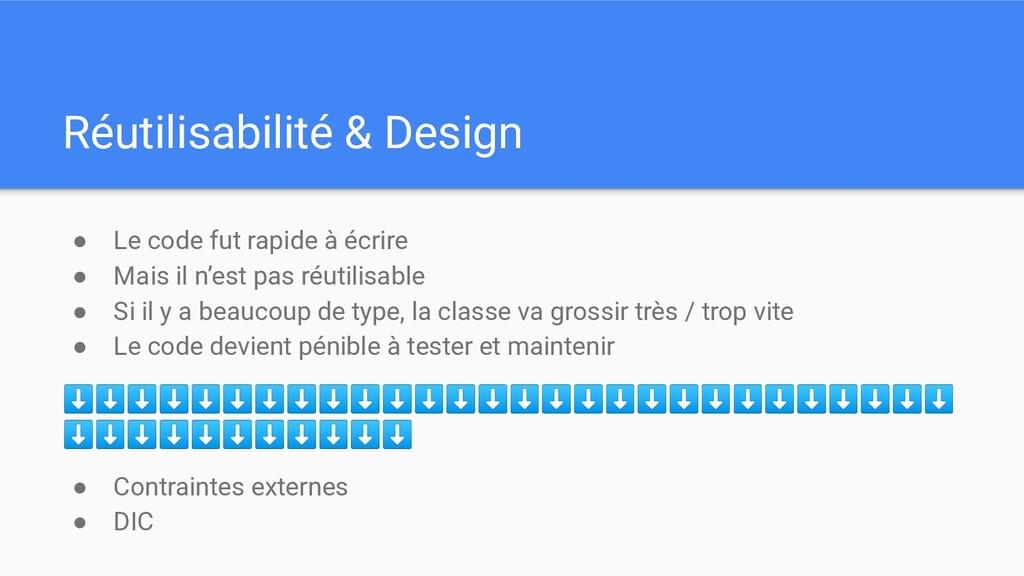 Réutilisabilité & Design ● Le code fut rapide à...