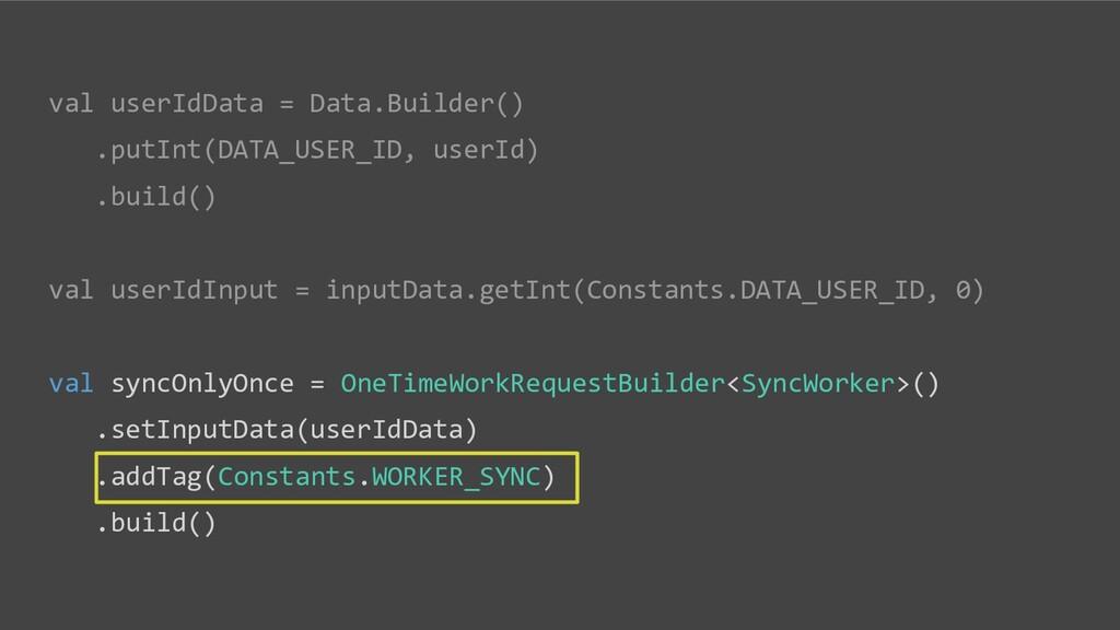 val userIdData = Data.Builder() .putInt(DATA_US...