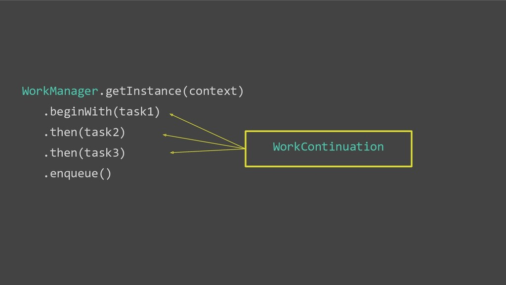 WorkManager.getInstance(context) .beginWith(tas...