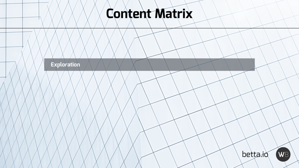 betta.io Exploration Content Matrix