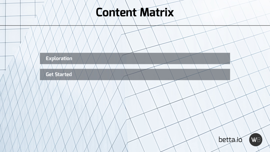 betta.io Exploration Get Started Content Matrix