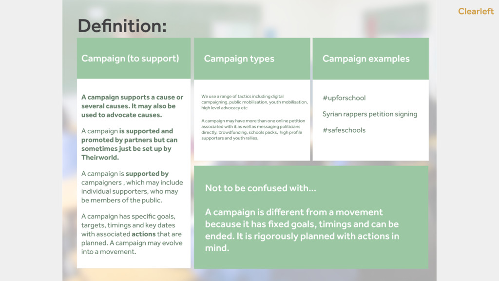 Clearleft Definition: Campaign (to support) A ca...