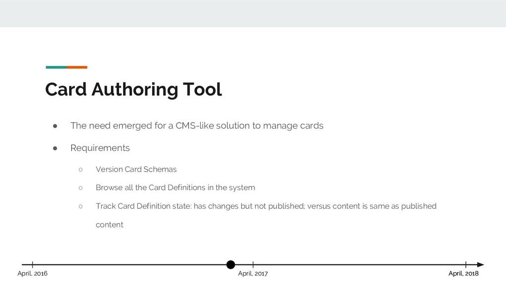Card Authoring Tool April, 2018 April, 2017 Apr...